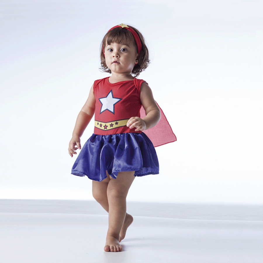 5978cdbc9 Fantasia Body Bebê Vestido Mulher-Maravilha - Aluá Festas