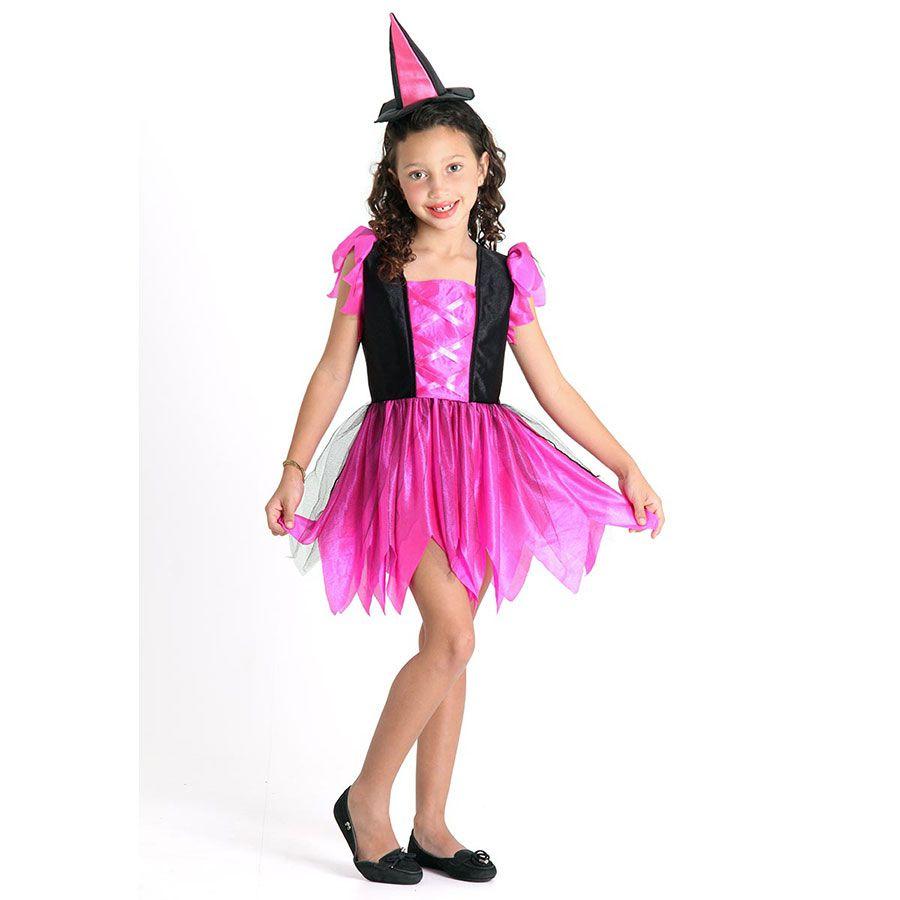 Fantasia de Bruxa Infantil com Mini Chapéu