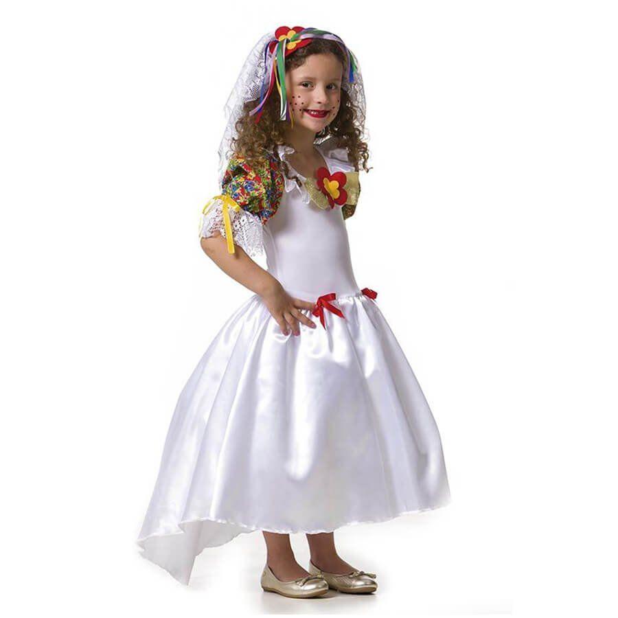 281341a6a Vestido Noiva Caipira Infantil com Tiara Véu Festa Junina - Aluá Festas