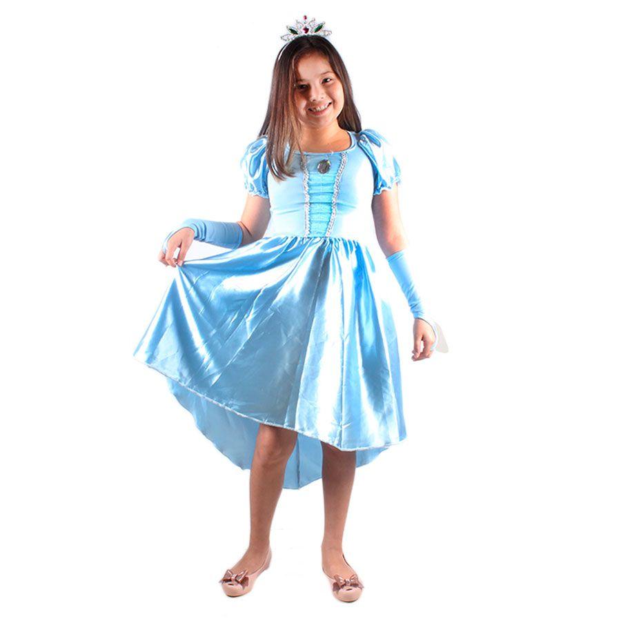 aec58305a57bbc Fantasia Infantil Princesa Azul Alyssa - Vários Tamanhos