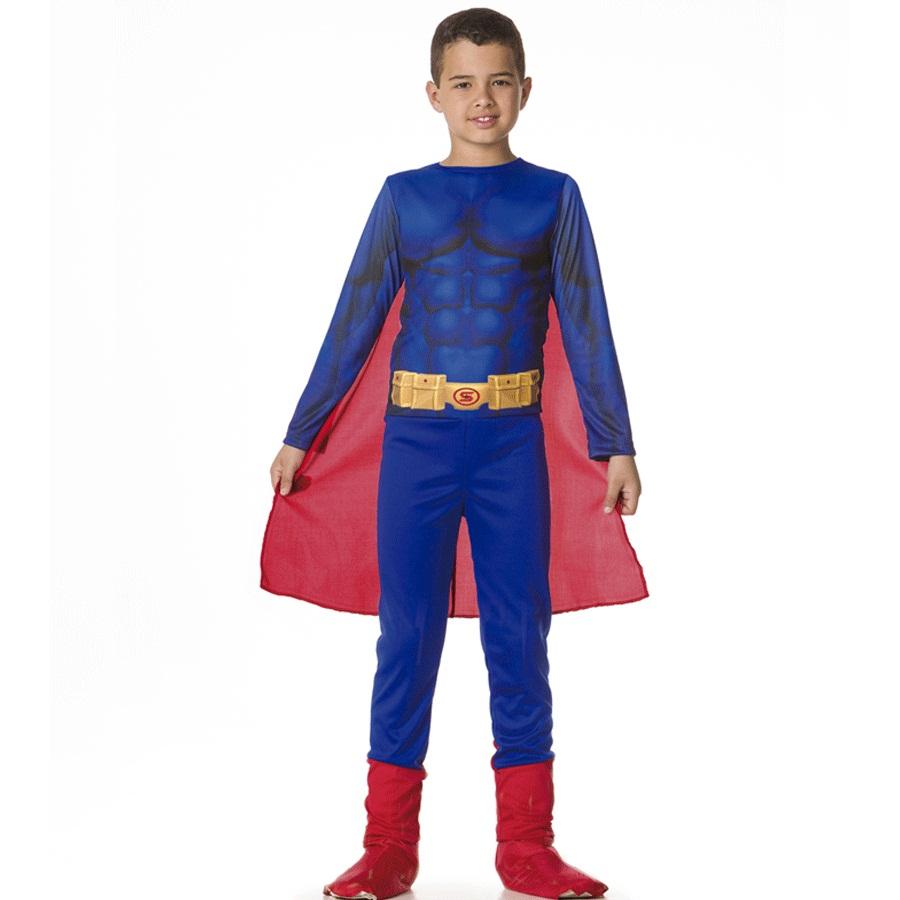 Fantasia Infantil Macacão Superman com Capa