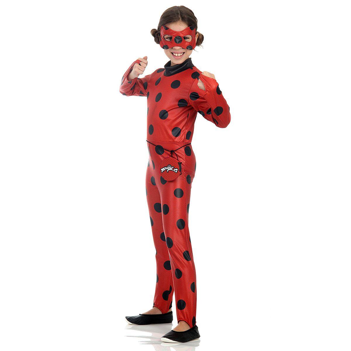 Fantasia LadyBug Infantil com Máscara e Pochete