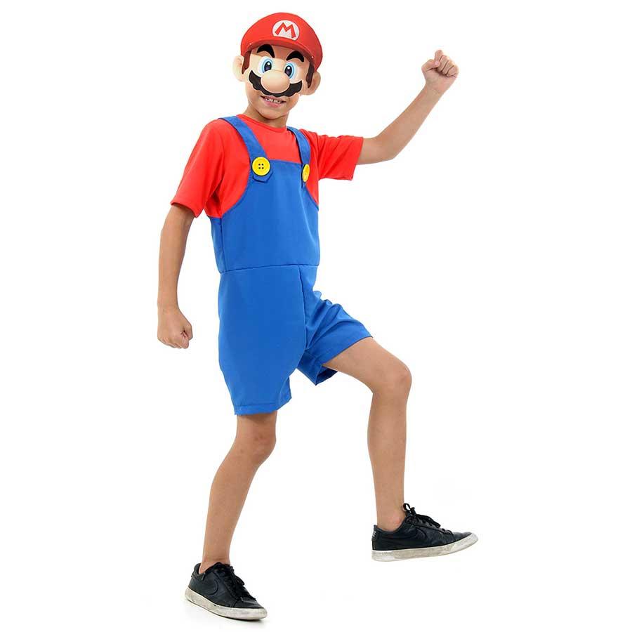 Fantasia Mario Bros Macacão Curto Infantil