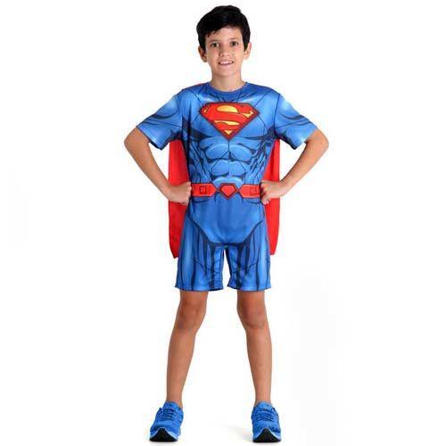 Fantasia Super-Homem Infantil Macacão Curto Músculos