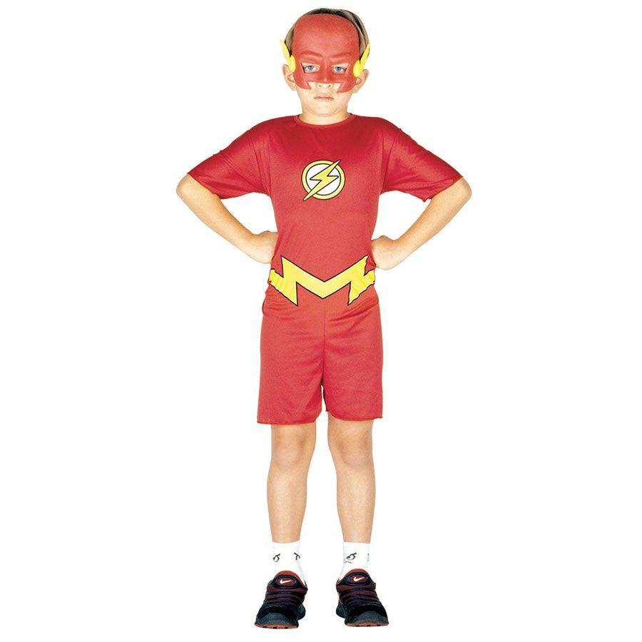 Fantasia Flash Infantil Macacão Curto com Máscara