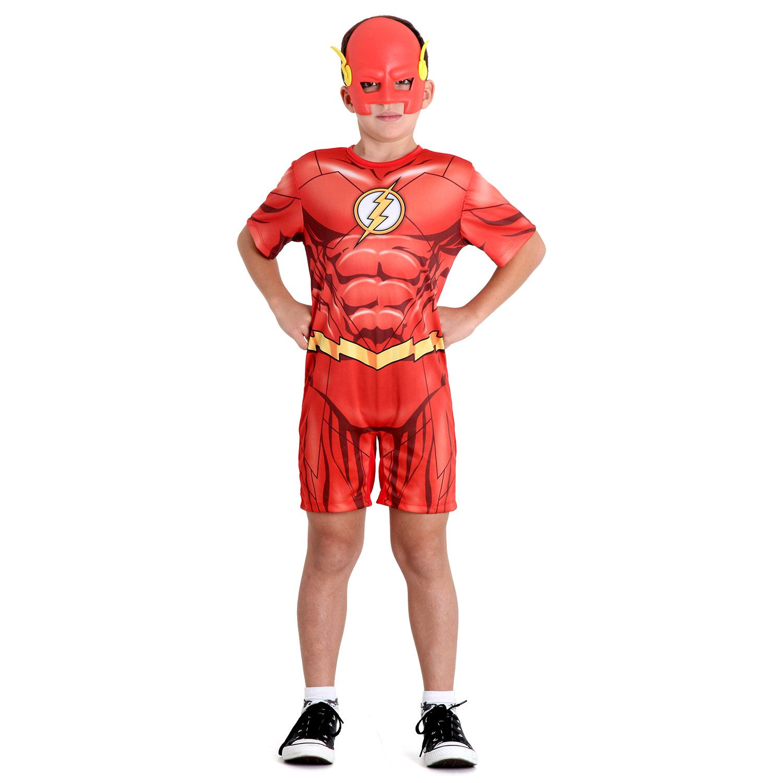 Fantasia Flash Infantil Macacão Curto Músculos