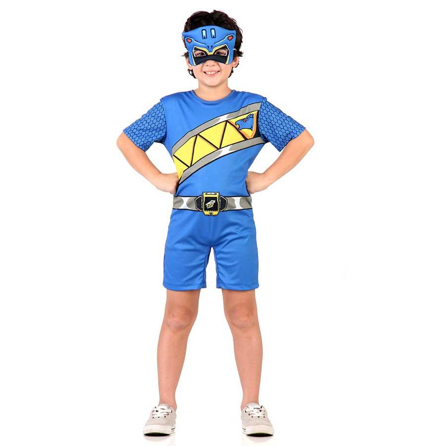 Fantasia Power Rangers Dino Charge Azul Curta