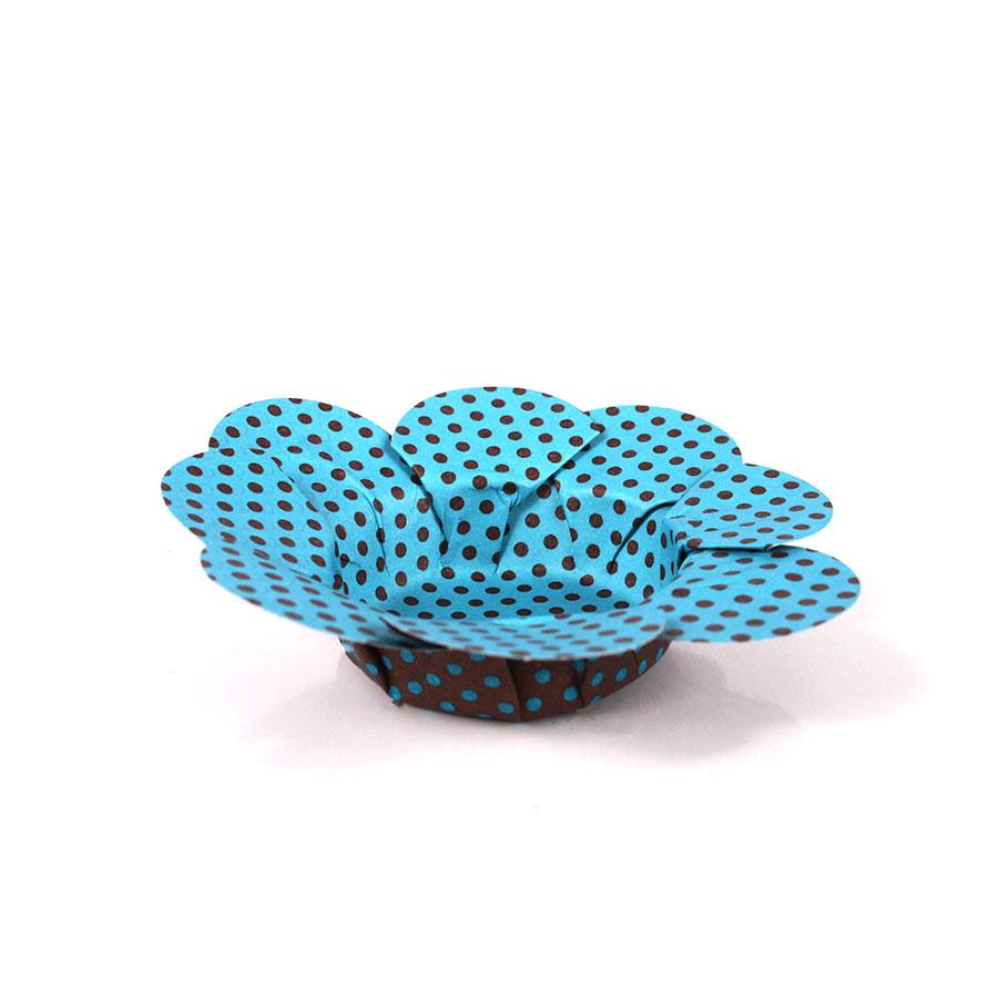 Forminha Flor P/ Doces 50Un Azul Com Marrom