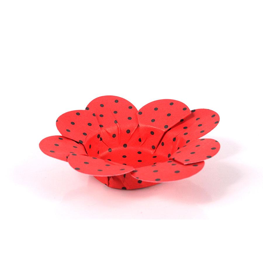Forminha Flor P/ Doces 50Un Vermelho Com Preto