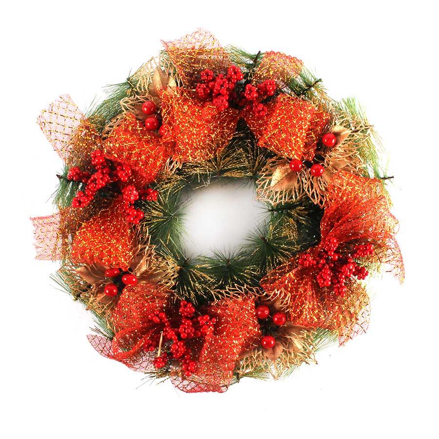 Guirlanda de Natal com Laços e Glitter - 40cm - Aluá Festas dab3cafe5e