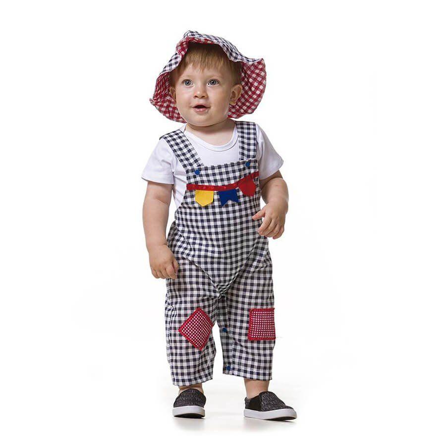 Jardineira Baby de Festa Junina Masculina com Chapéu