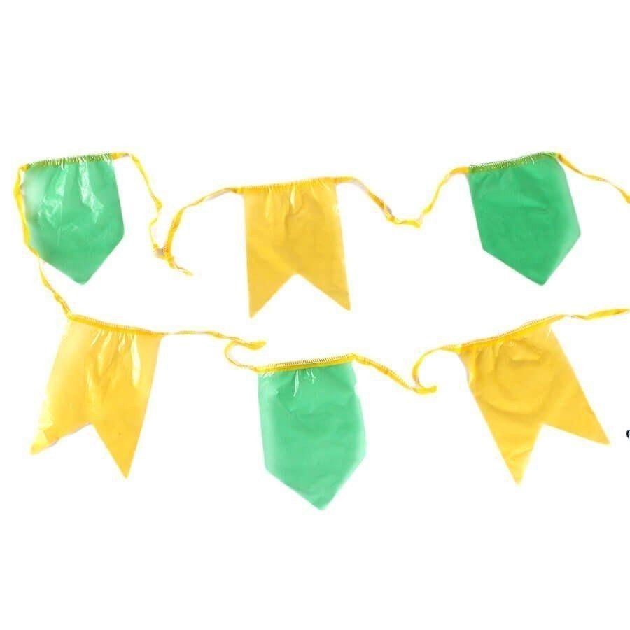 Kit 20 Metros Bandeirolas De Plástico Verde E Amarela