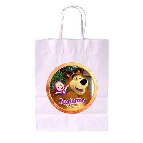 Kit 20 Sacola De Papel Branca Personalizada Masha E O Urso
