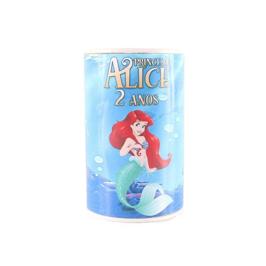 Kit 30 Lembrancinha Cofrinho Personalizado Princesa Ariel