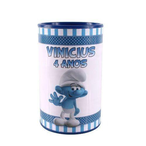 Kit 30 Lembrancinha Cofrinho Personalizado Smurfs