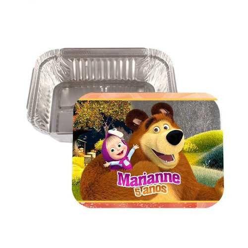 Kit 30 Lembrancinha Marmitinha Personalizada Masha E O Urso
