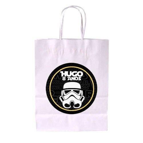 Kit 40 Sacola De Papel Branca Personalizada Star Wars