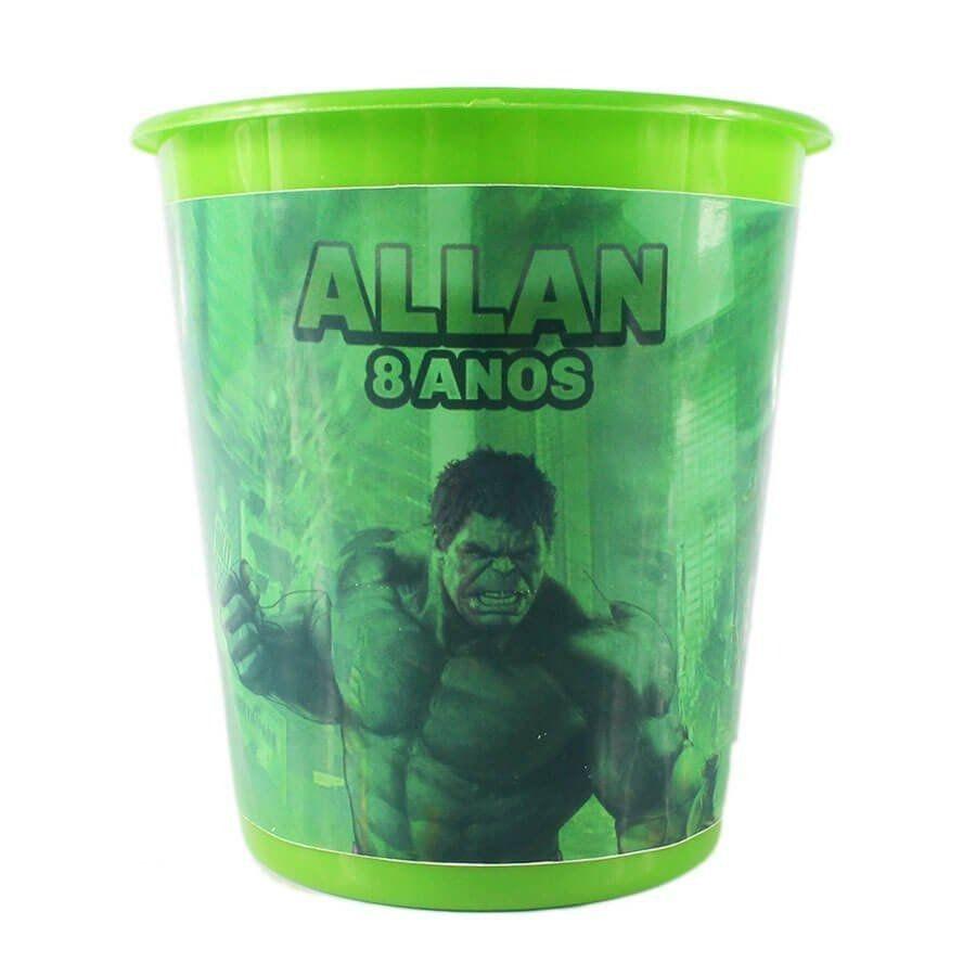 Kit 50 Lembrancinha Balde De Pipoca Personalizado Hulk
