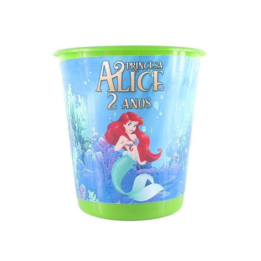 Kit 50 Lembrancinha Balde Pipoca Personalizad Princesa Ariel