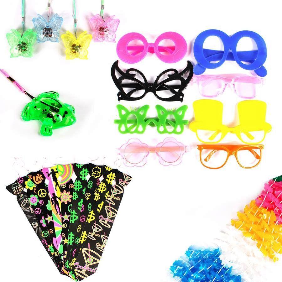 Kit Atacado 140 Itens Neon Oculos Tiara E Gravata