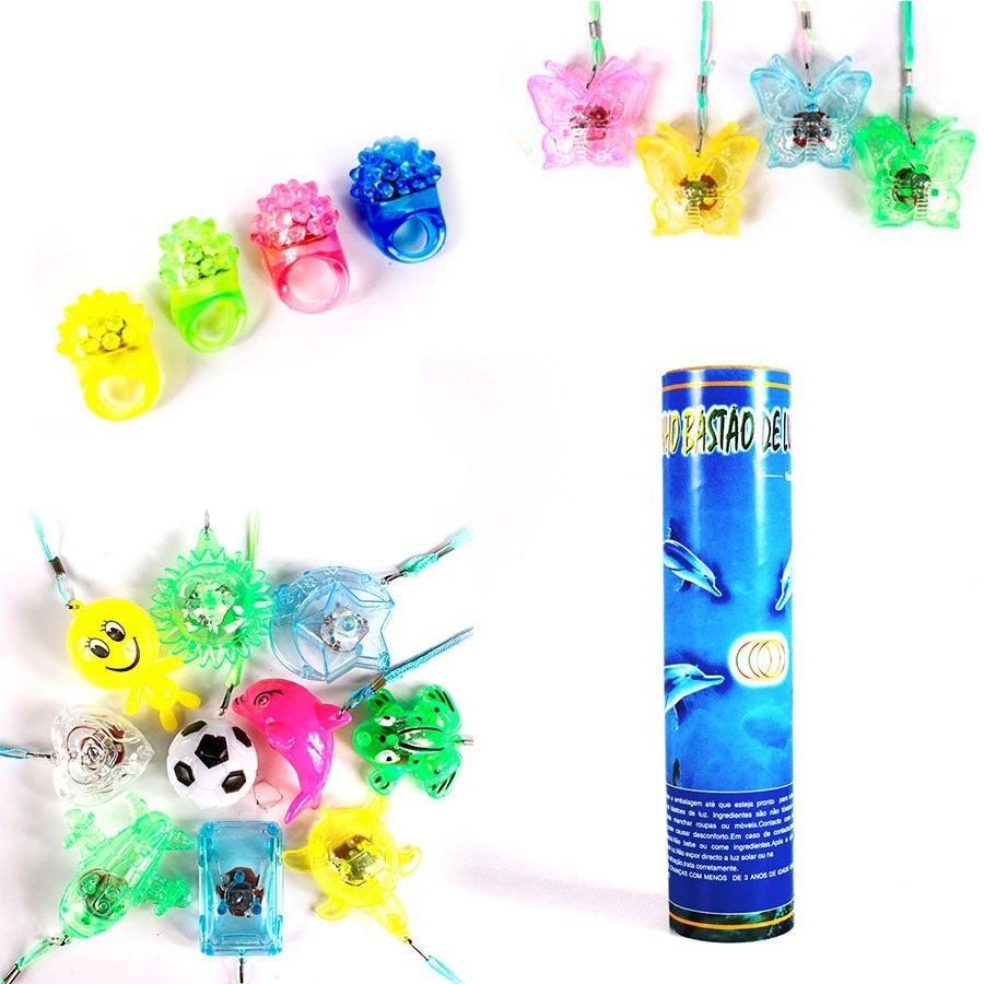 Kit Balões, Anéis Piscas e Pulseiras Neon