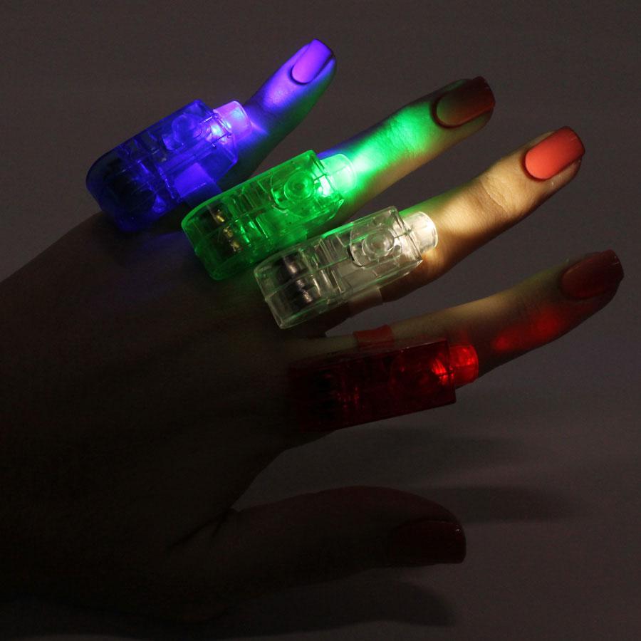 Kit Com 10 Anéis Led 4 Cores Laser De Mão