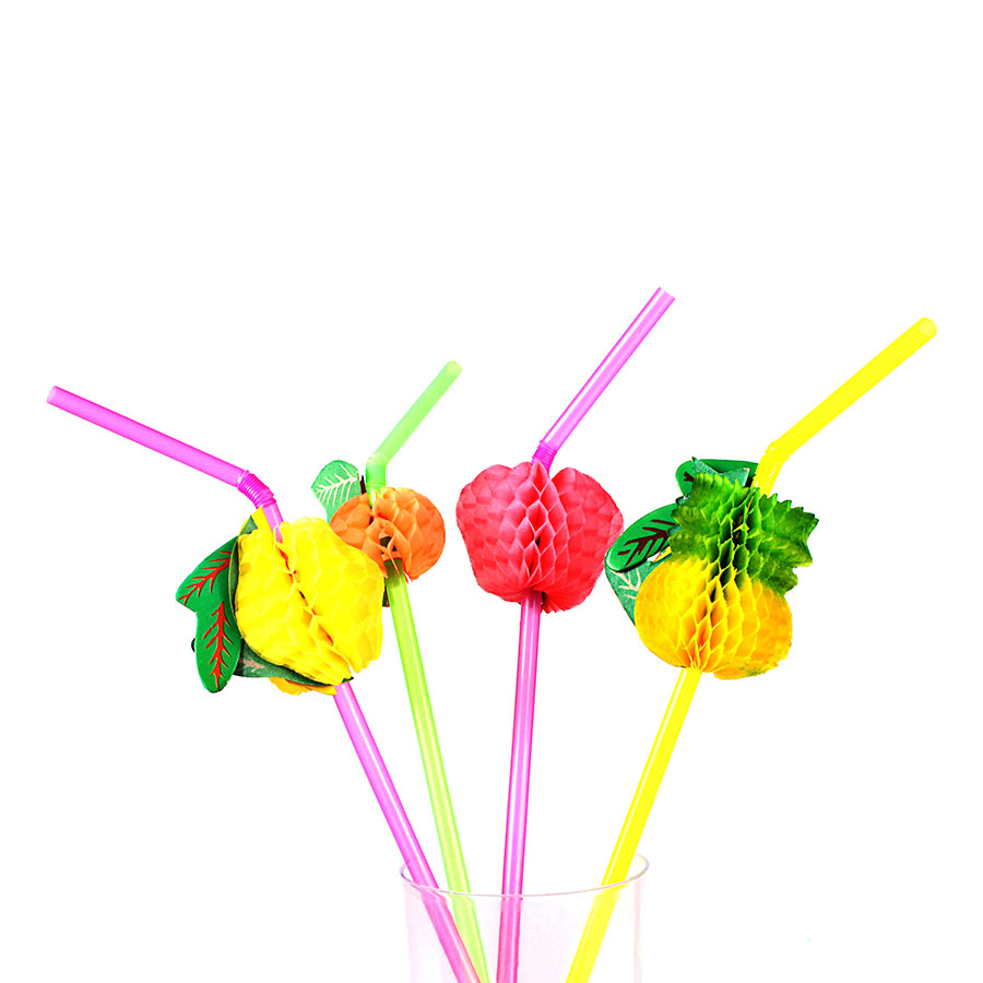 Kit Com 120 Canudos Frutas Para Drinks Coloridos
