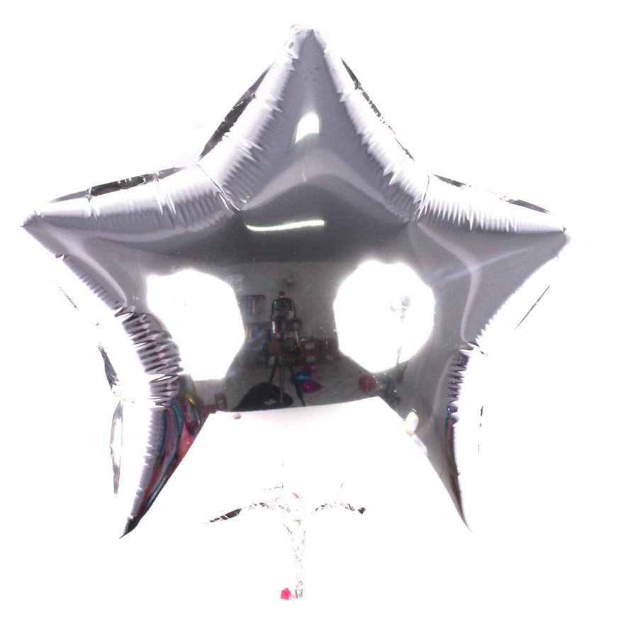 Kit Com 50 Balões Metalizados Estrela Prata 48Cm