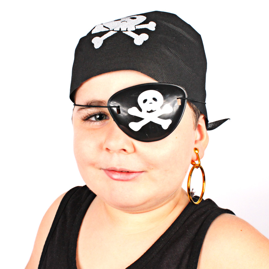 Kit Com 5 Kits Pirata ( Bandana, Tapa Olho E Brinco )