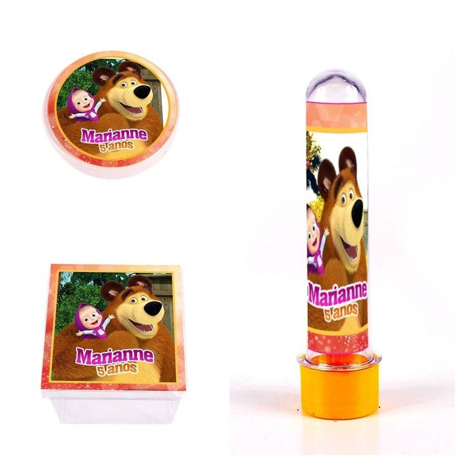Kit de Lembrancinhas Personalizadas 45 Itens Masha E O Urso