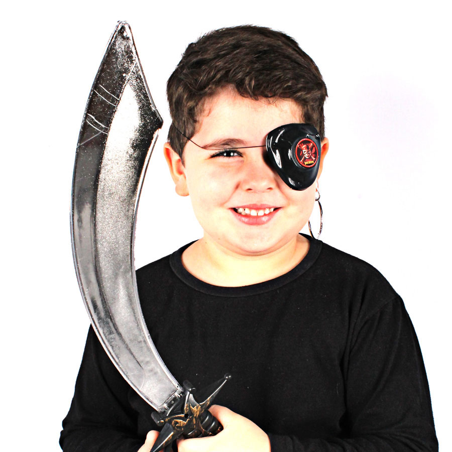 Kit Pirata Com Espada, Brinco E Tapa Olho