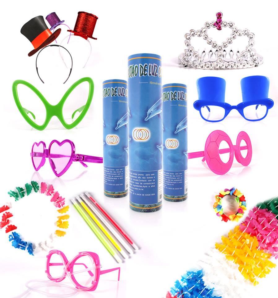 Kit Festa 200 Oculos + 100 Tiara + 100 Pulseira Neon - Aluá Festas 6a18bf0324