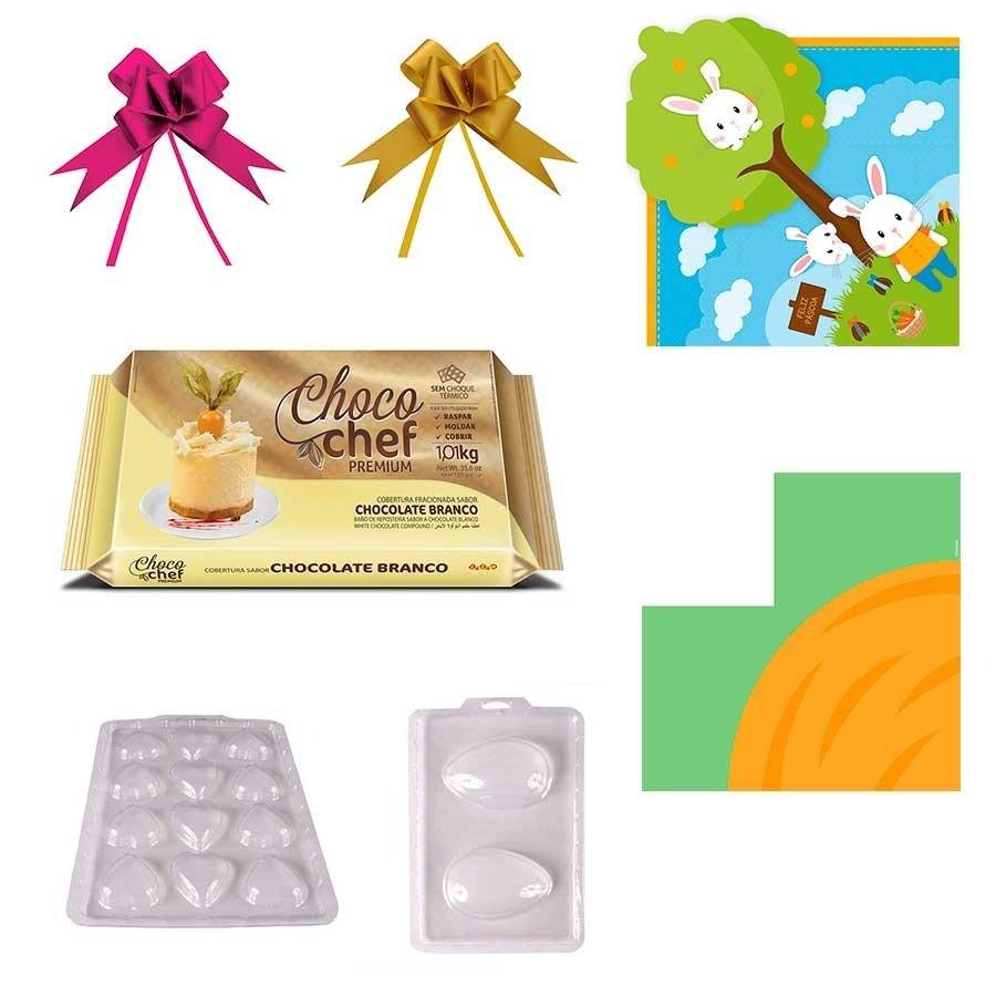Kit Ovo De Páscoa Caseiro 100g Chocolate Branco E Embalagem