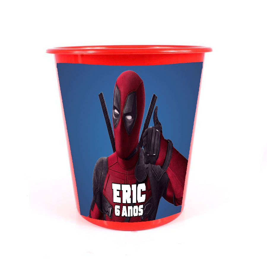Lembrancinha Balde de Pipoca Personalizado Deadpool
