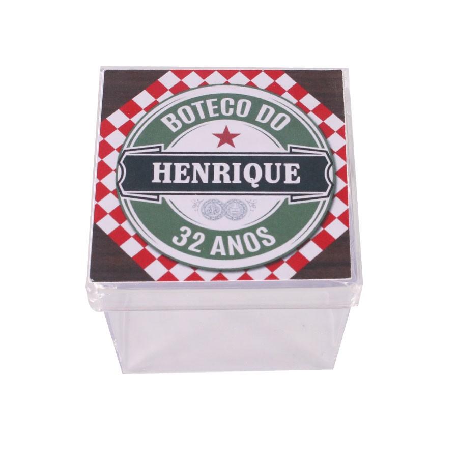 Lembrancinha Caixa Acrílica Personalizada Boteco Estilo Heineken - Aluá  Festas 932a5b8629332