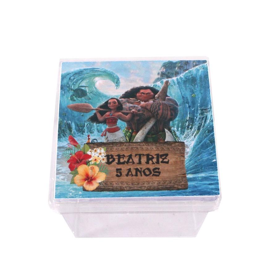 Lembrancinha Caixa Acrílica Personalizada Moana Um Mar de Aventuras