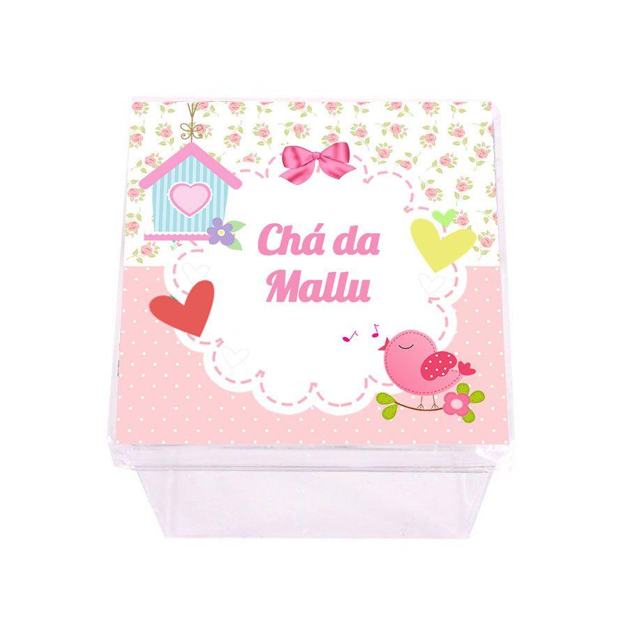 Lembrancinha Caixa Acrílica Personalizada  Passarinho Menina