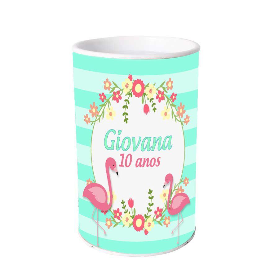 Lembrancinha Cofrinho Personalizado Flamingo Tropical
