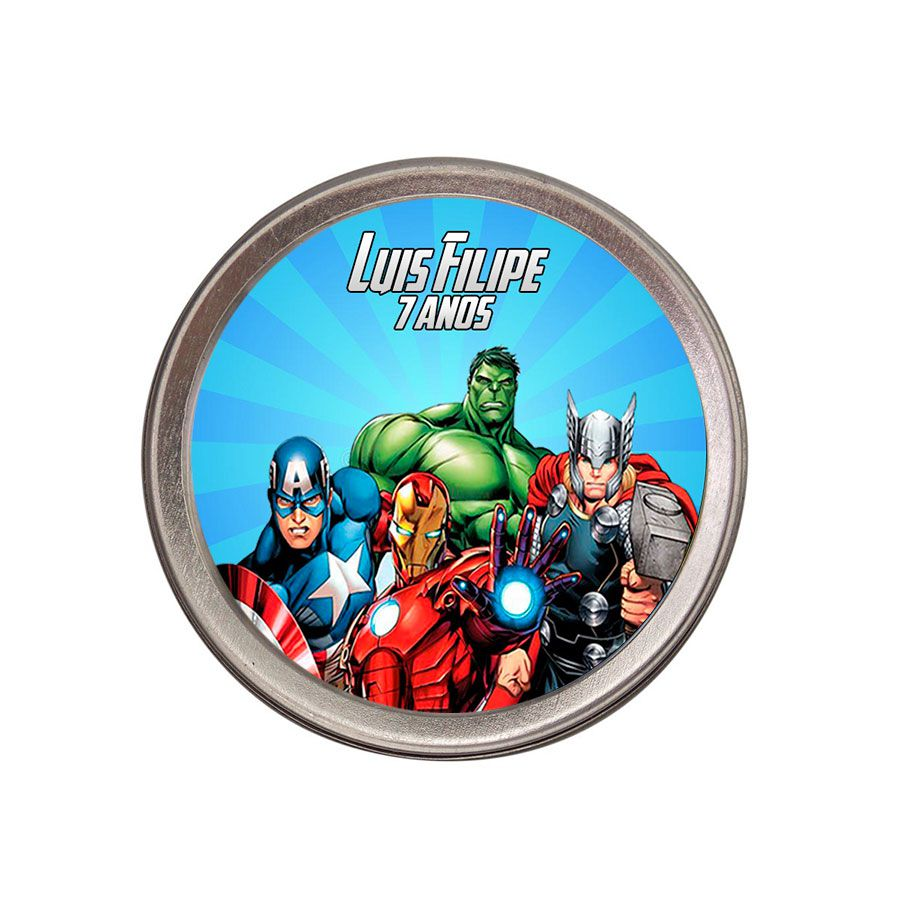 Lembrancinha Potinho De Alumínio Personalizado Os Vingadores