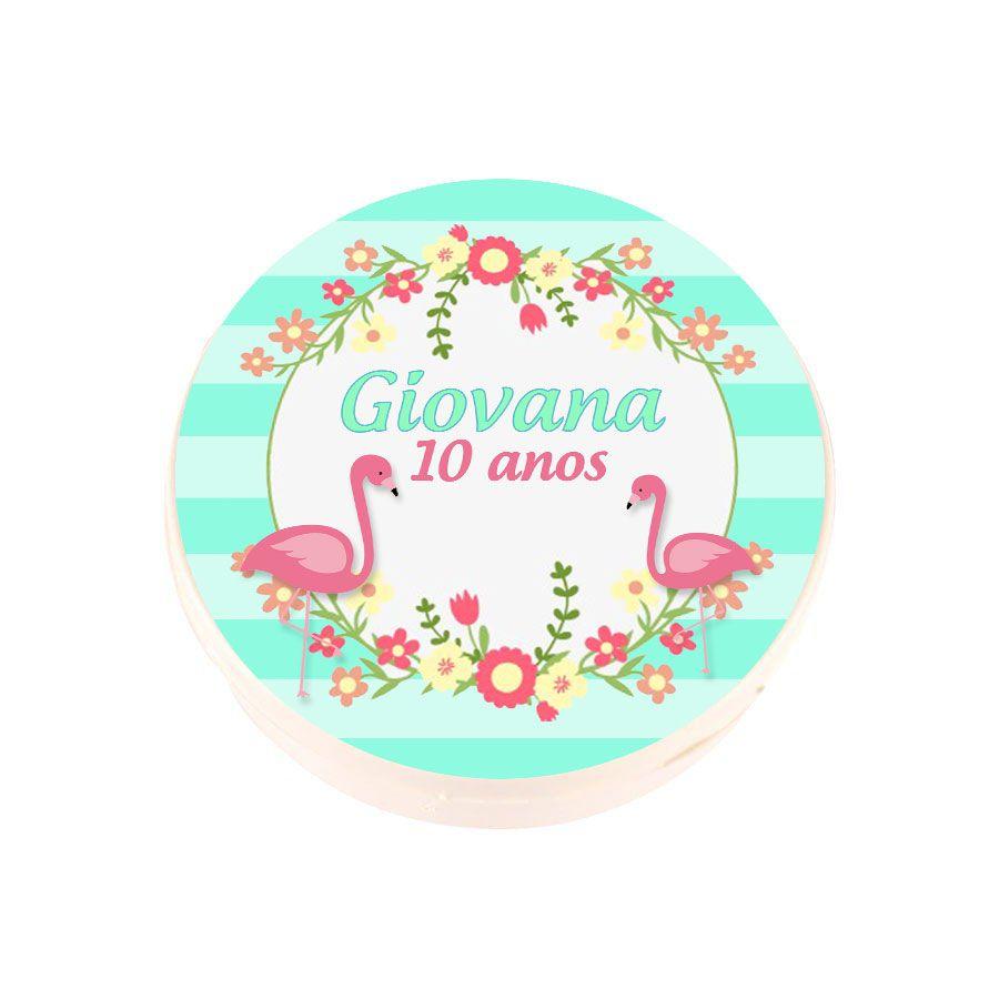 Lembrancinha Potinho de Plástico Personalizado Flamingo