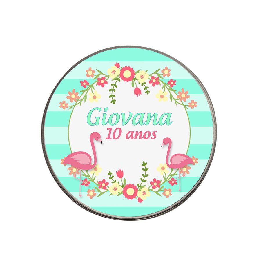 Lembrancinha Potinho de Alumínio Personalizado Flamingo