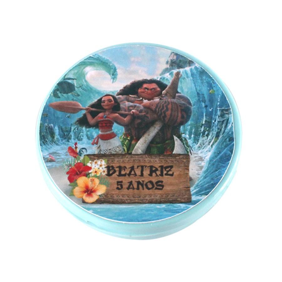 Lembrancinha Potinho Plástico Personalizado Moana Um Mar de Aventuras