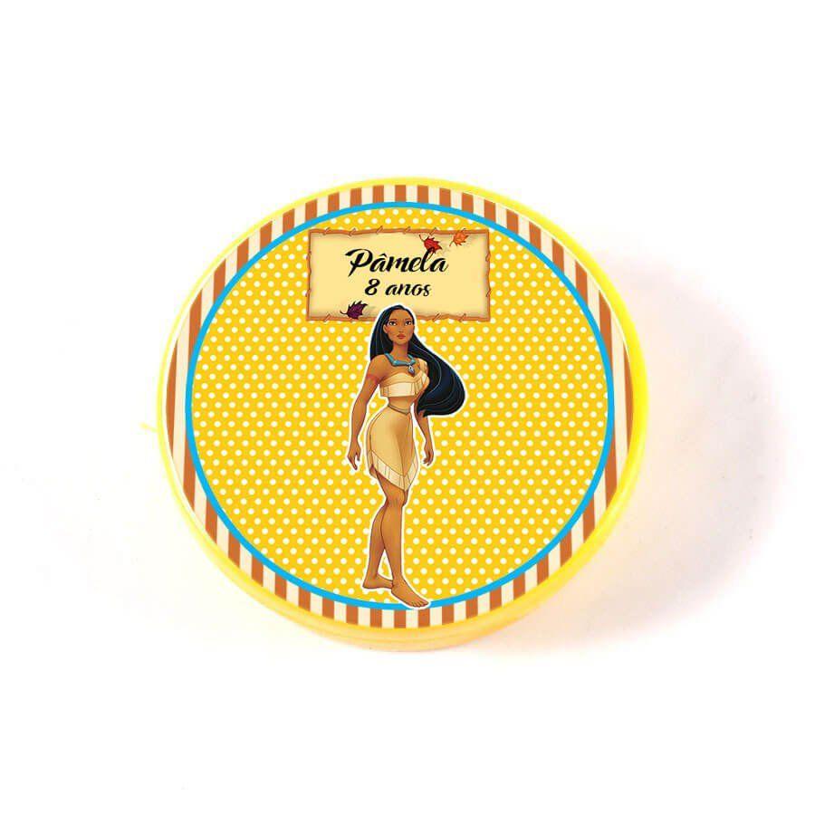 Lembrancinha Potinho Plástico Personalizado Pocahontas