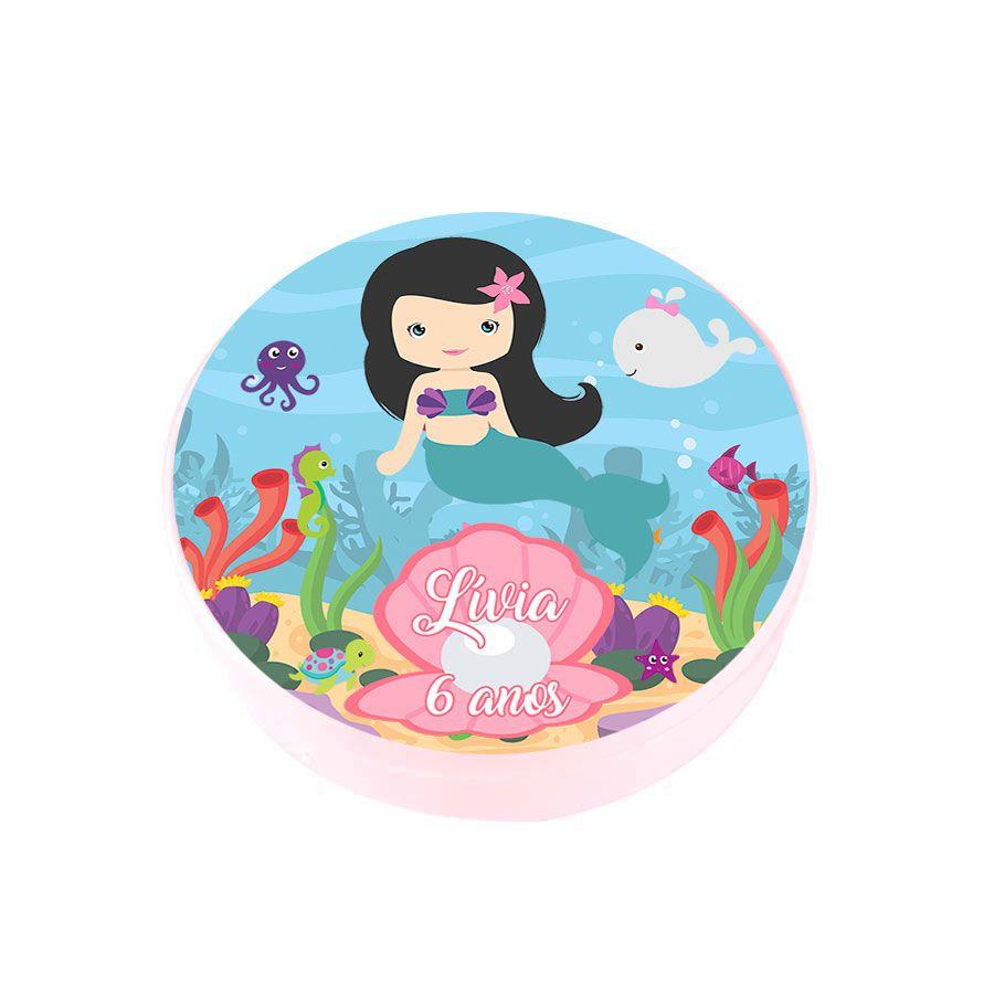 Lembrancinha Potinho Plástico Personalizado Sereia