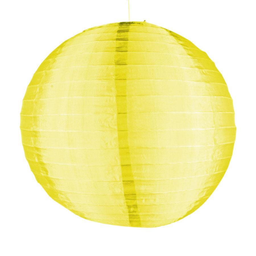 Luminária Redonda Tecido 30Cm Amarela