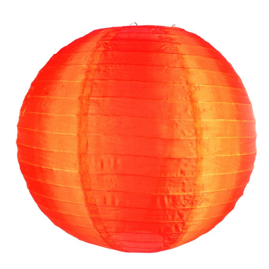 Luminária Redonda Tecido 30Cm Laranja