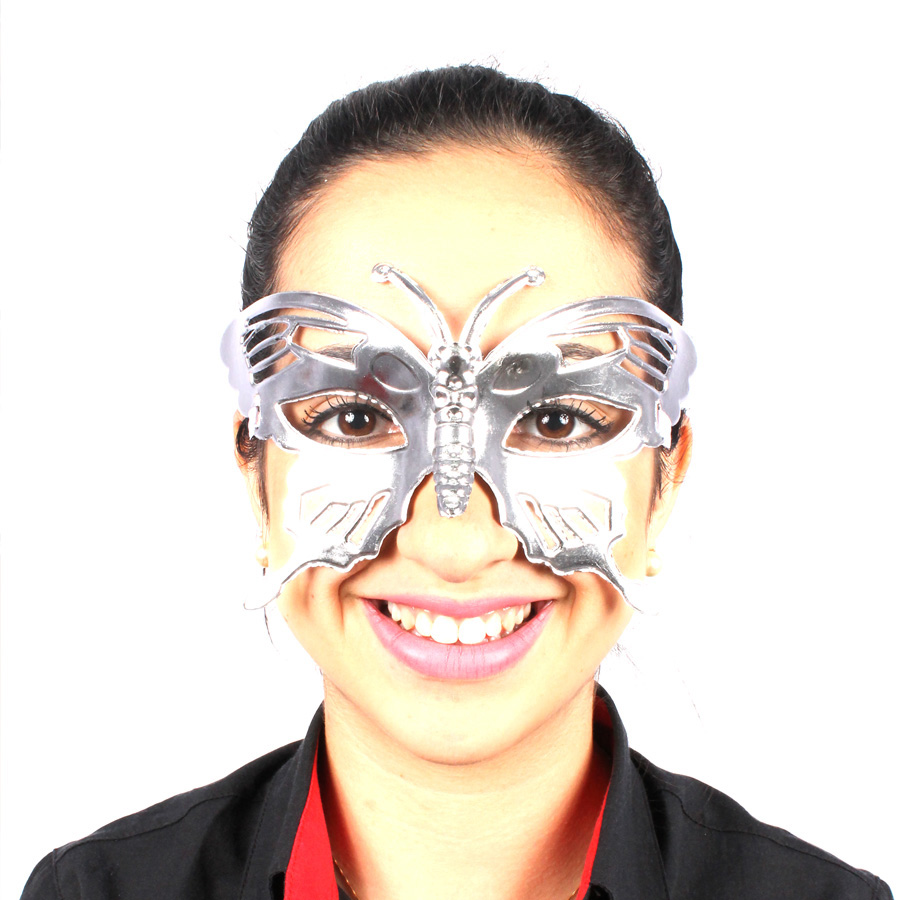 Máscara Borboleta Metalizada Prata