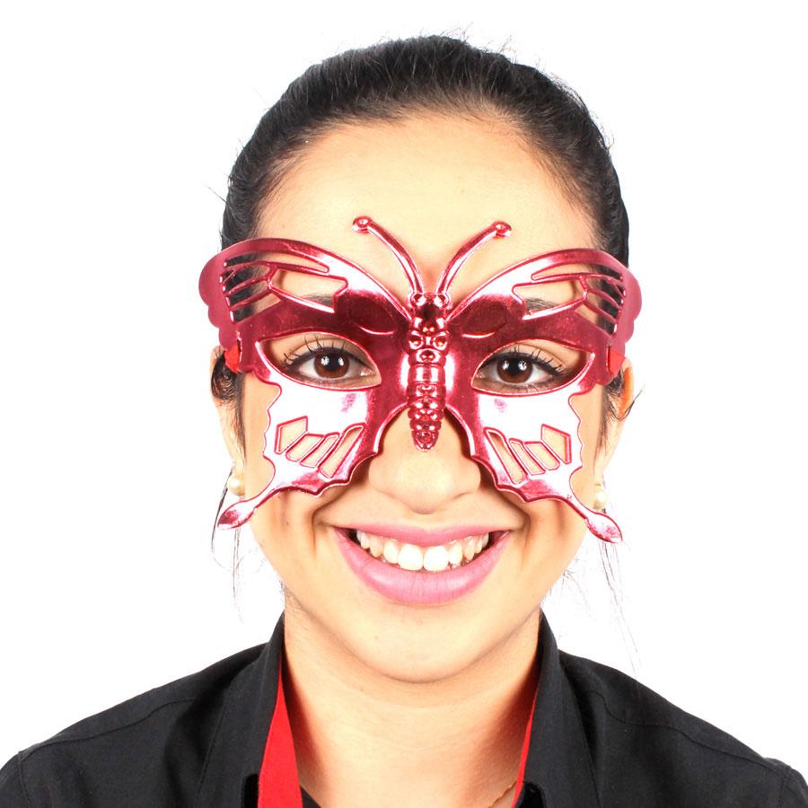 Máscara Borboleta Metalizada Vermelha