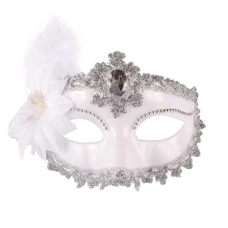 Máscara Branca De Luxo Para Festas