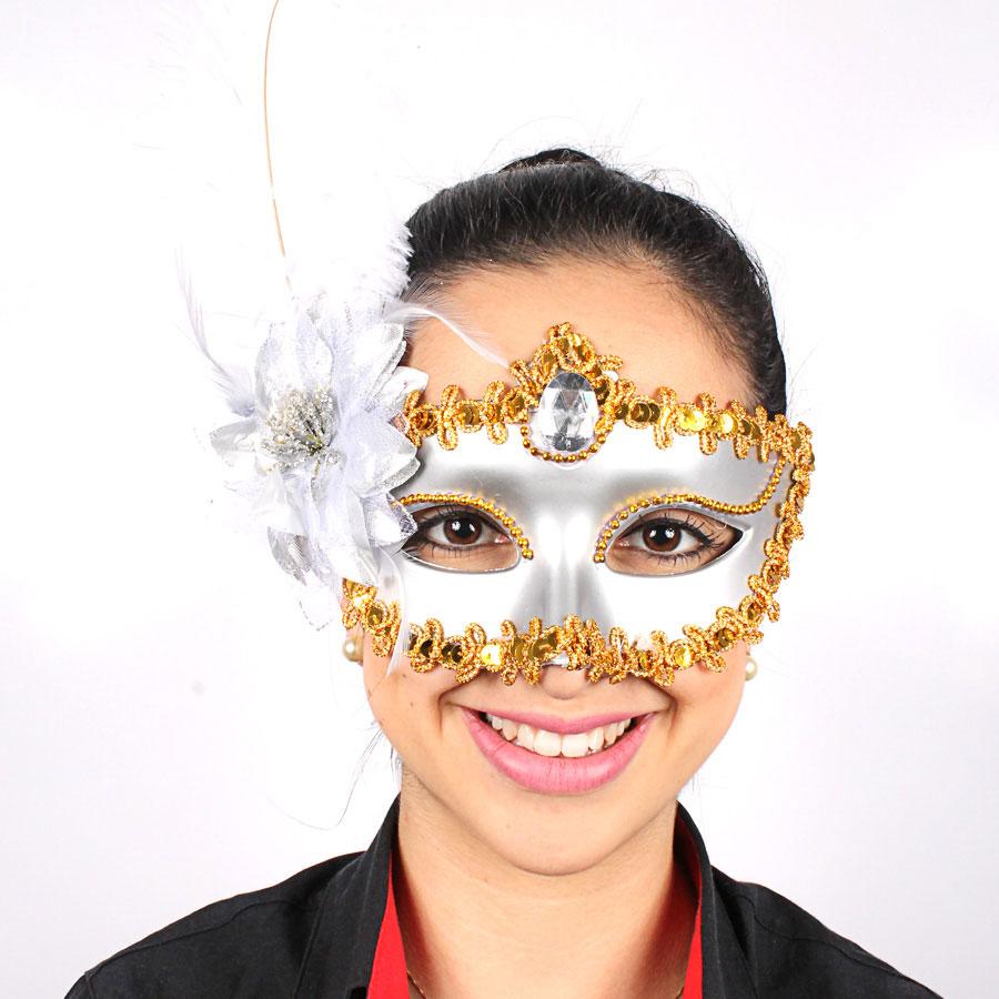Máscara Especial Superluxo Com Penas Prata